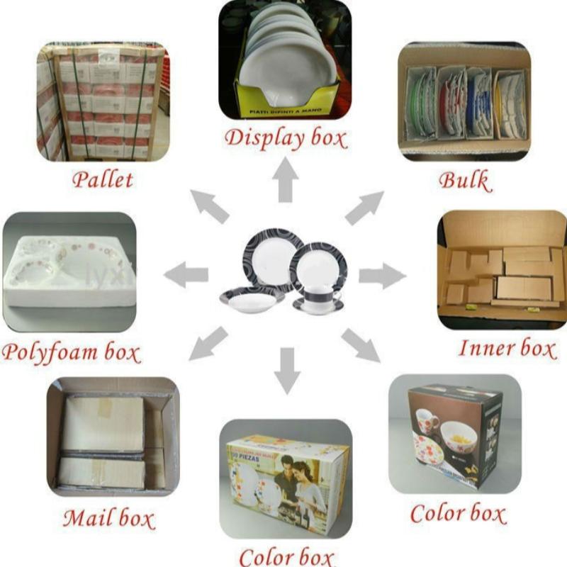 La forma de envasar vajillas de cerámica.