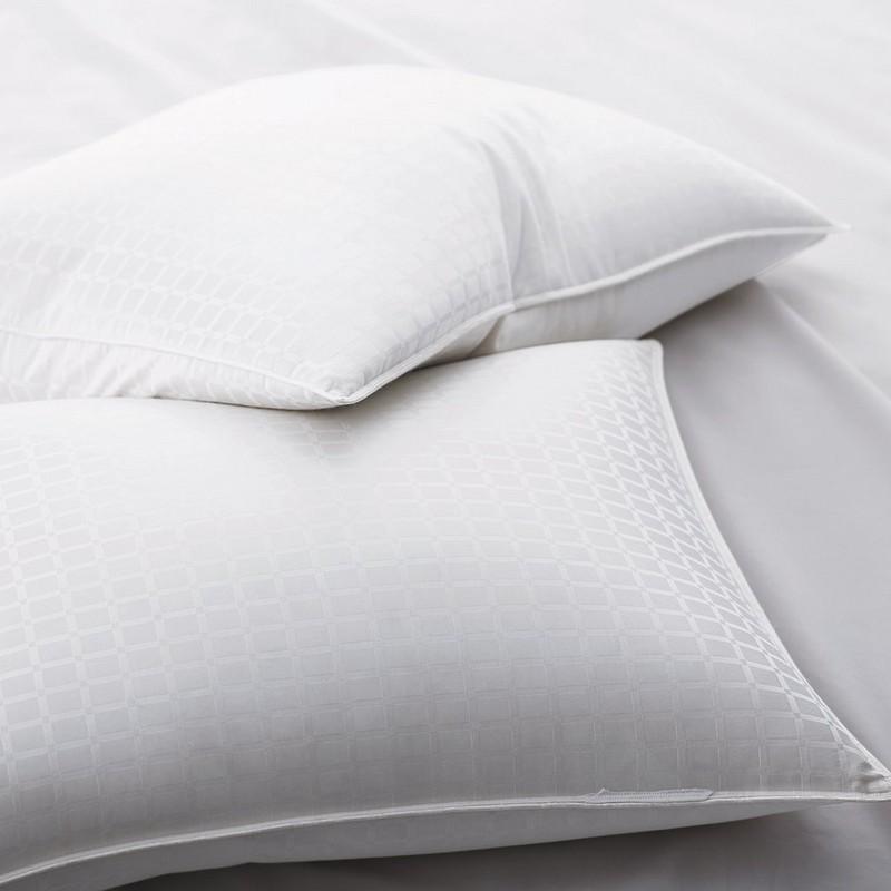90% de almohadas de plumas de ganso blanco con patrón de panel de ventana de 1 ''