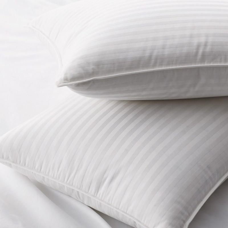 Almohadas de plumas de pato blanco al 90% con tejido de patrón de rayas de damasco de 1 cm