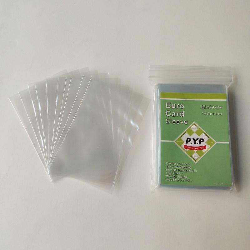 Mangas finas de la tarjeta de juego de mesa 59x92mm de la manga de la tarjeta del tamaño del euro estándar cristalino