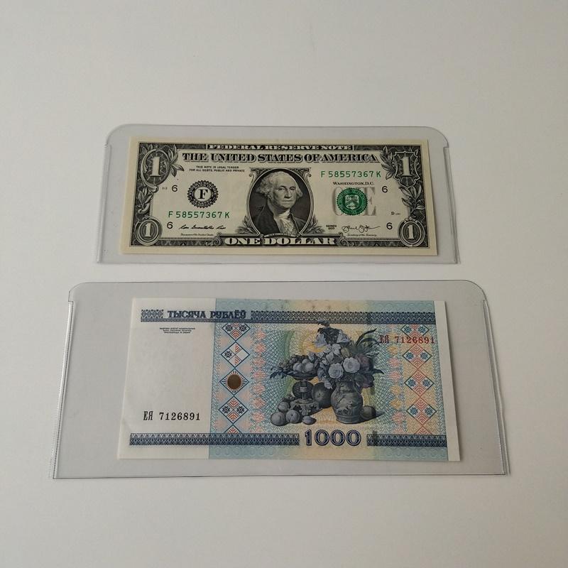 Mangas cristalinas del colector del billete de la moneda