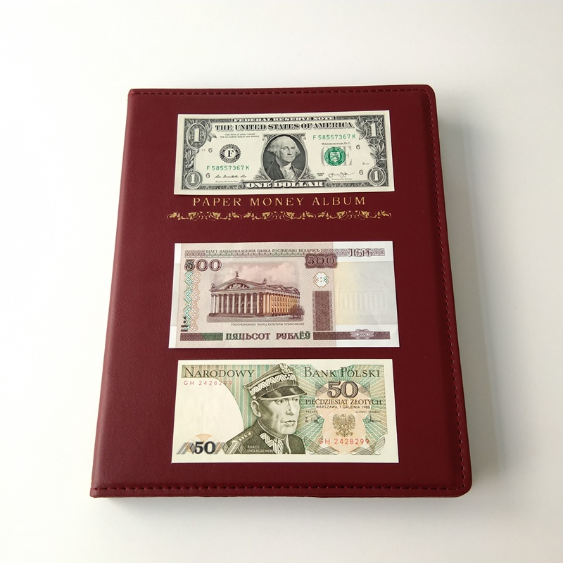 Red Currency Storage Binder Album Collector