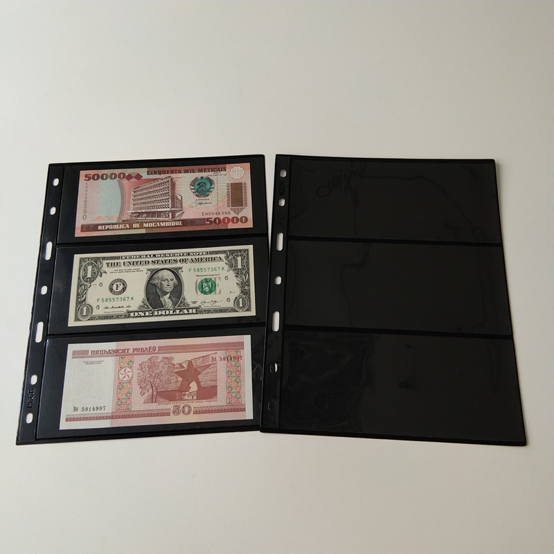 3 páginas de la cartera de almacenamiento de divisas en Black Poly de bolsillo para billetes de moneda