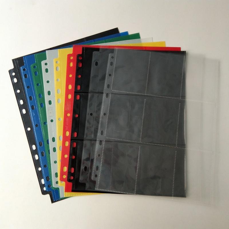 9 Pocket Poly Gaming Card Holder Page Protectores Hoja de plástico para carpetas
