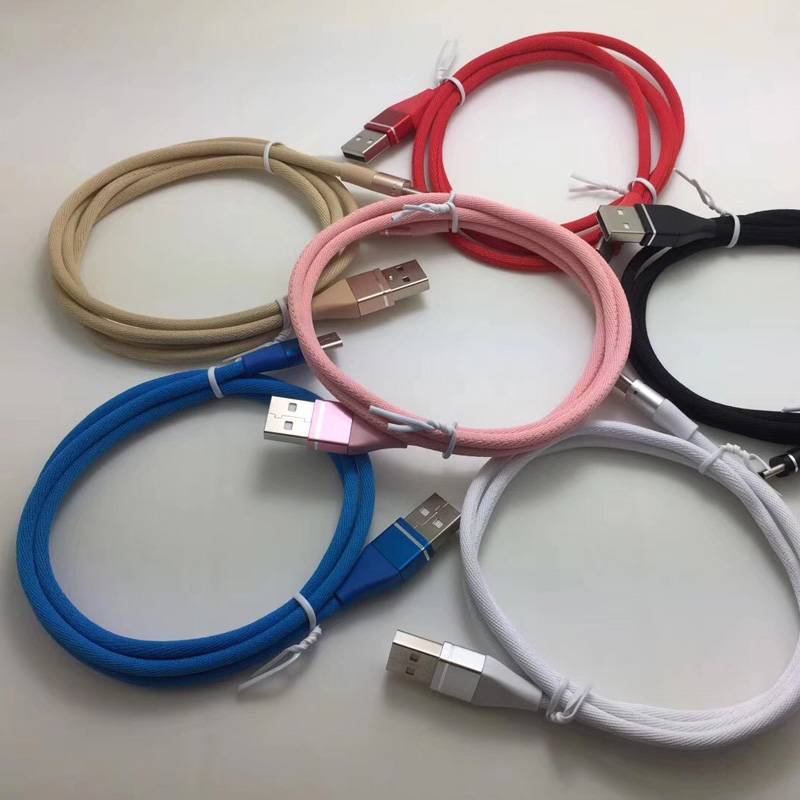 Colorido Cable de datos trenzado Caja de aluminio redonda de carga rápida Cable USB para micro USB, tipo C, carga y sincronización de rayos de iPhone