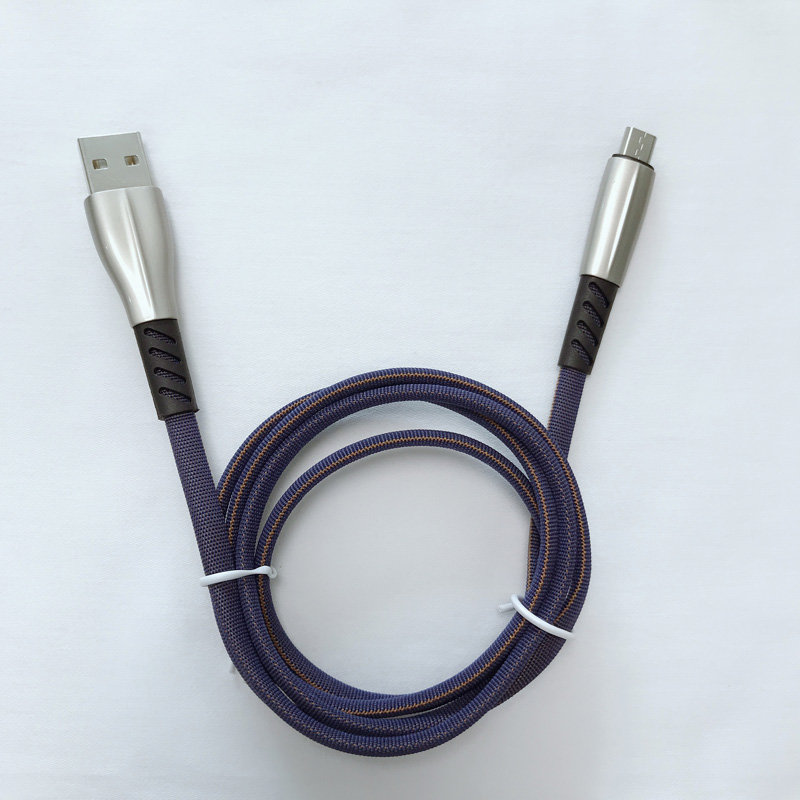 Cable de datos trenzado Carcasa de aleación de zinc plano de carga rápida 3.0A Flexión flexible Cable USB sin enredos para micro USB, tipo C, carga y sincronización de rayos en iPhone