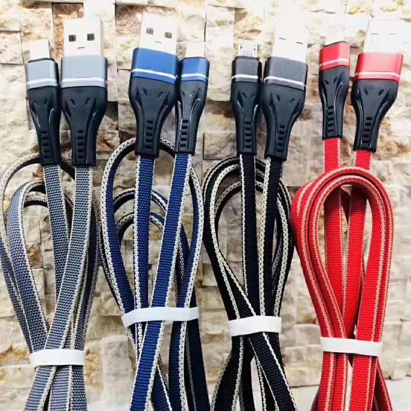 Cable de datos USB trenzado, sin cables, sin cables, para micro USB, tipo C, carga y sincronización del iPhone Lightning