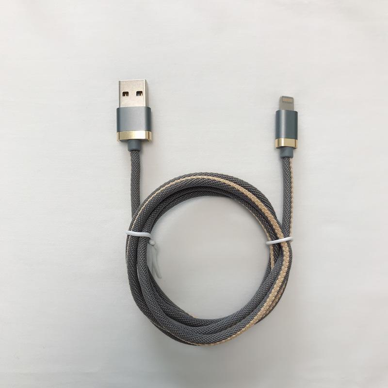 Cable de datos USB trenzado de carcasa de aluminio redondo de carga rápida 3.0A para micro USB, tipo C, carga y sincronización de rayos de iPhone