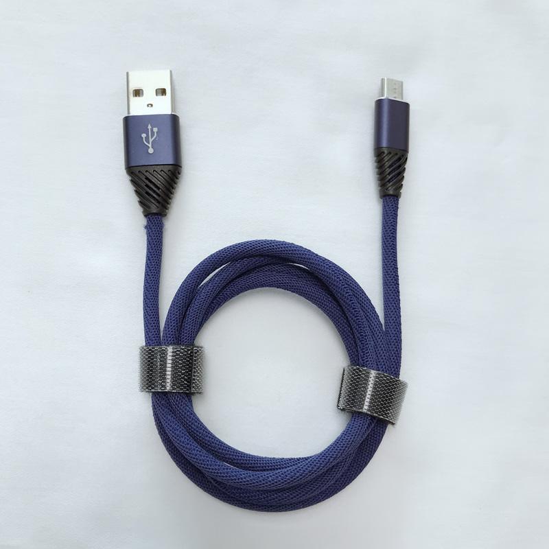 Cable de datos USB doblado flexible de carga rápida trenzado de aluminio para micro USB, tipo C, carga de rayos de iPhone y sincronización