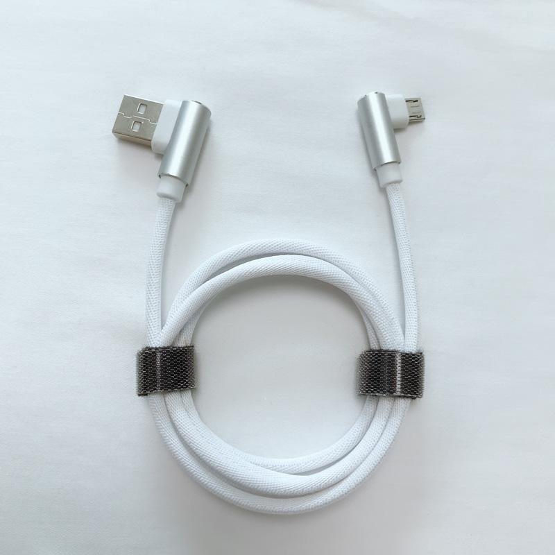 Cable de datos USB USB trenzado de ángulo recto de carga rápida dual de ángulo recto para micro USB, tipo C, carga de rayos de iPhone y sincronización