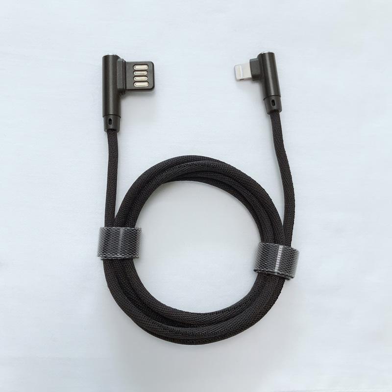 Doble cara USB 2.0 Doble ángulo recto Trenzado de carga rápida Carcasa de aluminio Cable de datos USB para micro USB, tipo C, carga de rayos de iPhone y sincronización