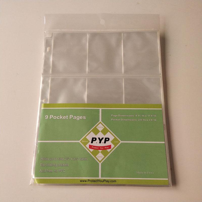 Hoja de plástico de la carpeta de plástico de los protectores de página de los juegos de tarjetas de juego de 9 Pocket