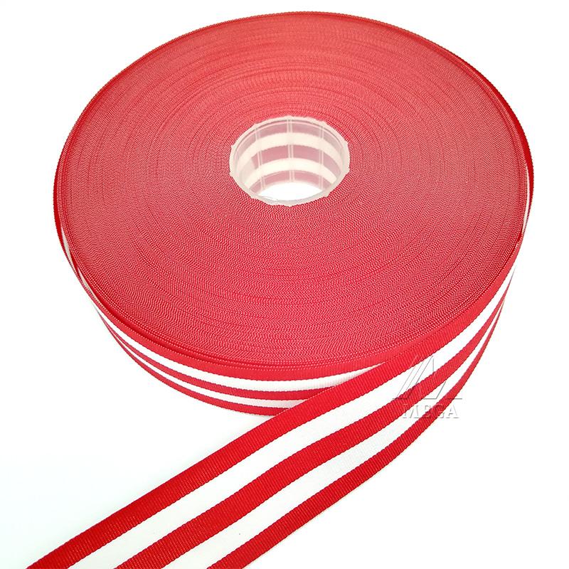 Cinta grosgrain rayada de dos colores de fábrica de 25 mm para embalaje de regalo