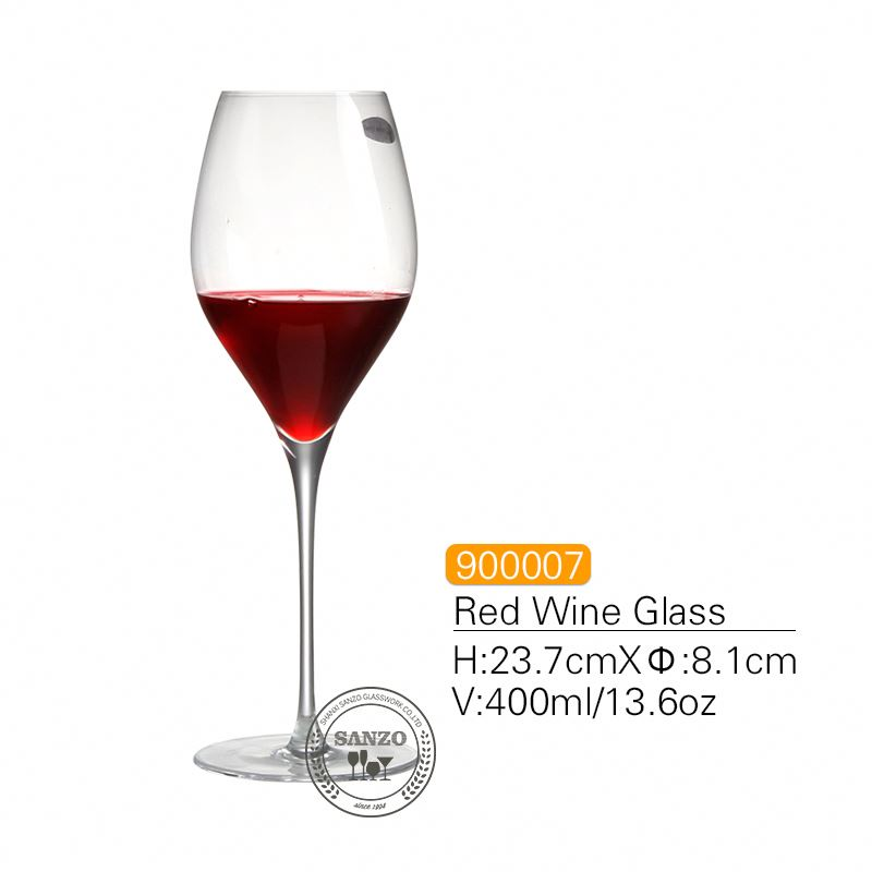 SANZO Tallo negro Globo Lismore Copa de vino Cristal sin plomo hecho a mano Gafas grabadas Gafas gruesas