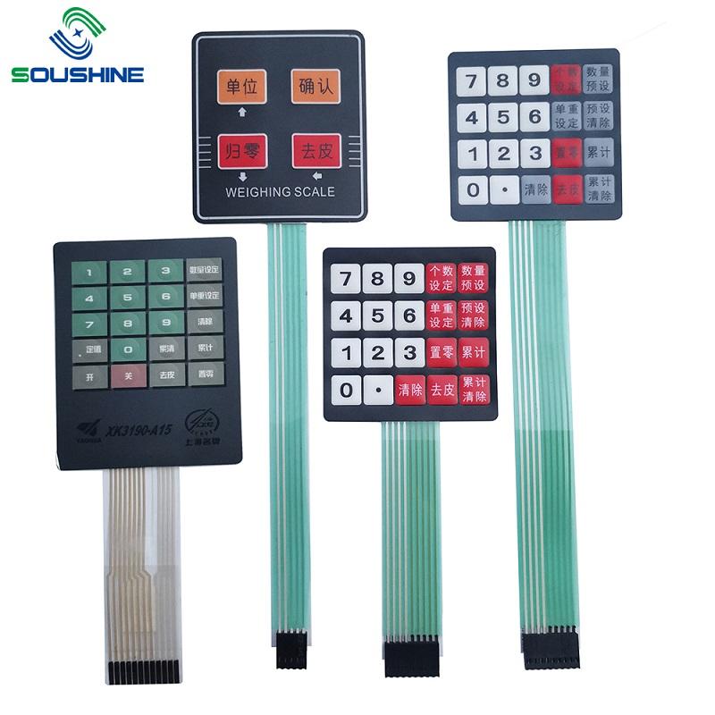 Interruptor de membrana personalizado / teclado de escalas