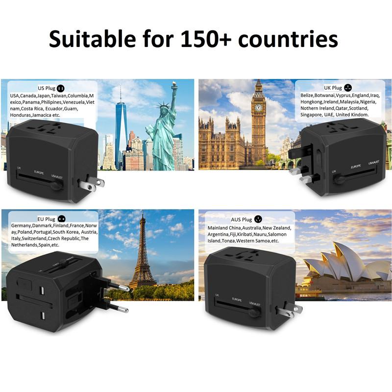 RRTRAVEL nuevo adaptador de viaje universal inteligente mundial personalizado con enchufe de alimentación de cargador rápido usb para Europa, Reino Unido, EE. UU., Australia