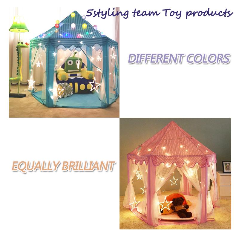 Carpa infantil Hexágono Carpa princesa Casa de juegos interior para niños Tienda para bebés Casa de juguetes Stock del fabricante